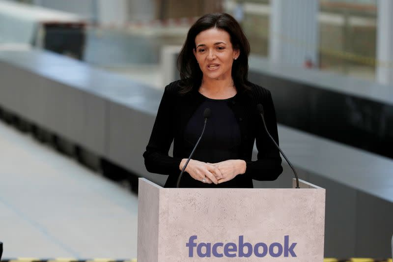 FILE PHOTO: Sheryl Sandberg, chief operating officer of Facebook, delivers a speech during a visit in Paris
