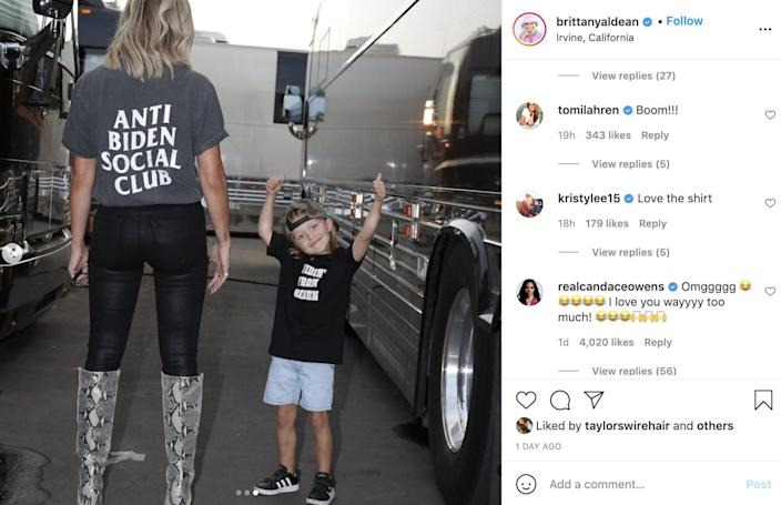 Brittany Aldean's Instagram comments included remarks from Candace Owens and Tomi Lahren.