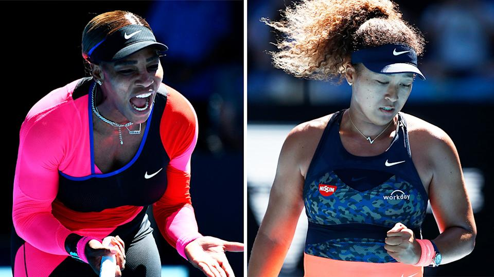 Naomi Osaka (pictured right) celebrating a point and Serena Williams (pictured left) yelling in frustration.