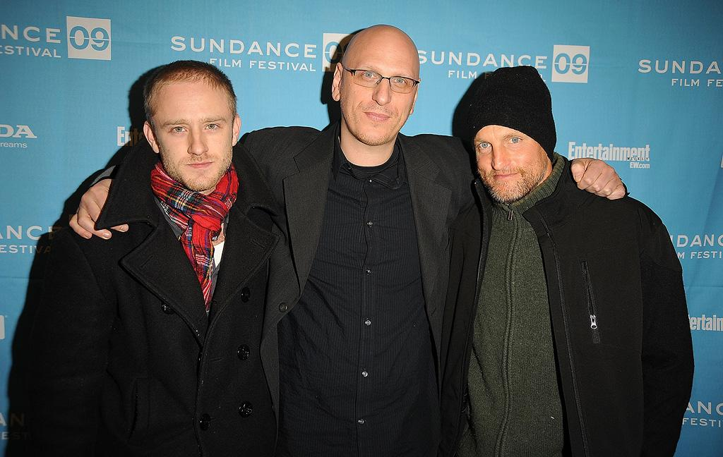 """<a href=""""http://movies.yahoo.com/movie/contributor/1800332837"""">Ben Foster</a>, director <a href=""""http://movies.yahoo.com/movie/contributor/1800361413"""">Oren Moverman</a> and <a href=""""http://movies.yahoo.com/movie/contributor/1800018911"""">Woody Harrelson</a> at the Sundance Film Festival screening for """"The Messenger"""" - 01/19/2009"""