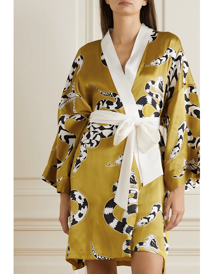 "Olivia von Halle's graphic silk robe is the kind you imagine yourself floating around the house in à la Lauren Bacall in <a href=""https://blogjuliannarae.files.wordpress.com/2019/11/bacall.jpeg"" rel=""nofollow noopener"" target=""_blank"" data-ylk=""slk:The Big Sleep"" class=""link rapid-noclick-resp""><em>The Big Sleep</em></a><em>.</em> It costs a pretty penny, but it's a high-quality piece you'll own forever. $550, Net-a-Porter. <a href=""https://www.net-a-porter.com/en-us/shop/product/olivia-von-halle/mimi-printed-silk-satin-robe/1291824"" rel=""nofollow noopener"" target=""_blank"" data-ylk=""slk:Get it now!"" class=""link rapid-noclick-resp"">Get it now!</a>"