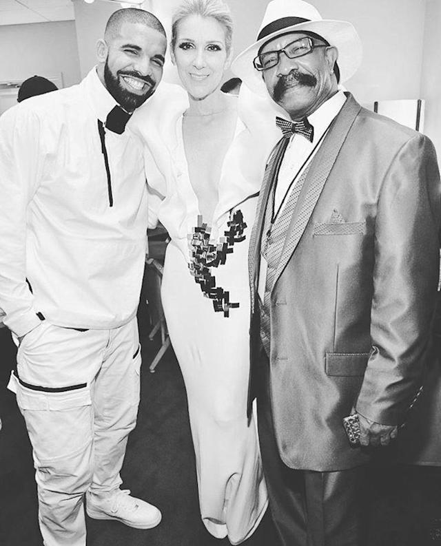"<p>The hip-hop star and his father, Dennis Graham, were over the moon when they met fellow Canadian Céline Dion backstage at the Billboard Music Awards. ""My dad might have walked away from this pic and said 'Da Celine Way,'"" wrote Drake. (Photo: <a href=""https://www.instagram.com/p/BUYjONdjhKf/?taken-by=champagnepapi"" rel=""nofollow noopener"" target=""_blank"" data-ylk=""slk:Drake via Instagram/Getty Images"" class=""link rapid-noclick-resp"">Drake via Instagram/Getty Images</a>)<br><br></p>"