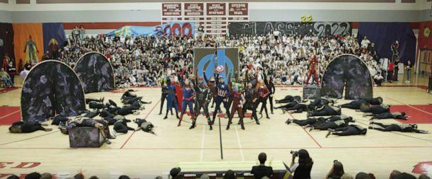 PHOTO: The 7 minute long 'Marvel'-themed dance routine featured students dressed as all of the Avenger characters. (Courtesy Kristi Lopez)
