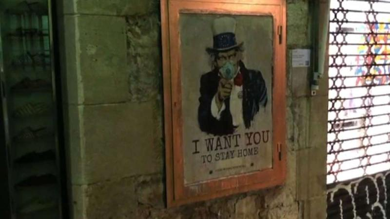Coronavirus, murales di TvBoy: Zio Sam dice I want you stay home