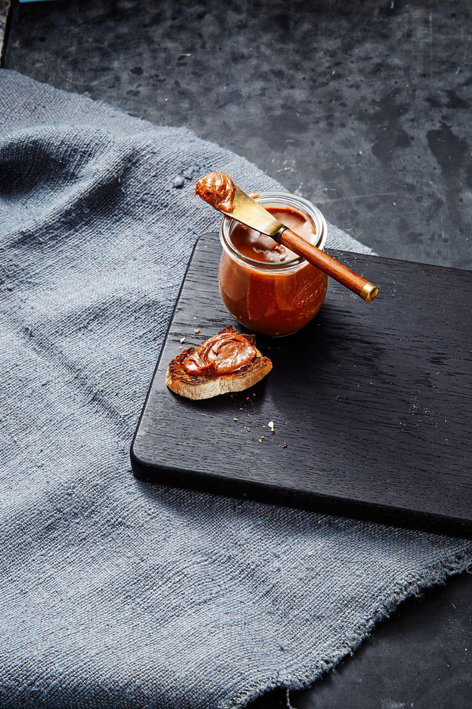 """<p>Turn any dessert into a chocolatey delight with easy homemade nutella, made with toasted hazelnuts and chocolate.</p><p><a href=""""https://www.goodhousekeeping.com/food-recipes/a36077439/homemade-nutella-recipe/"""" rel=""""nofollow noopener"""" target=""""_blank"""" data-ylk=""""slk:Get the recipe for Homemade Nutella »"""" class=""""link rapid-noclick-resp""""><em>Get the recipe for Homemade Nutella »</em></a></p>"""