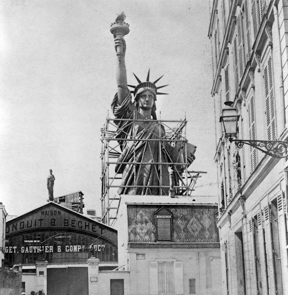 """The <a href=""""https://www.cntraveler.com/activities/new-york/statue-of-liberty?mbid=synd_yahoo_rss"""" rel=""""nofollow noopener"""" target=""""_blank"""" data-ylk=""""slk:Statue of Liberty"""" class=""""link rapid-noclick-resp"""">Statue of Liberty</a> gets ready to be shipped to the United States—a famous gift-giving gesture from France."""