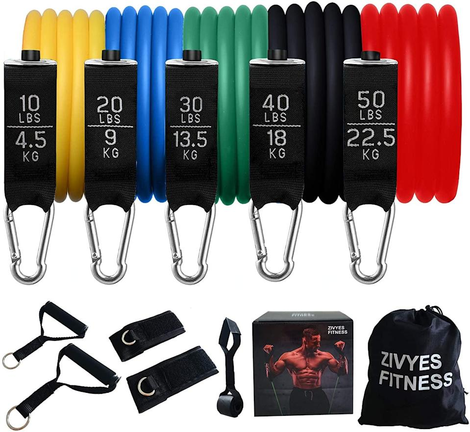 <p>No gym? No problem, the <span>Zivyes Resistance Bands Set</span> ($13) is all you need for a good at home workout!</p>