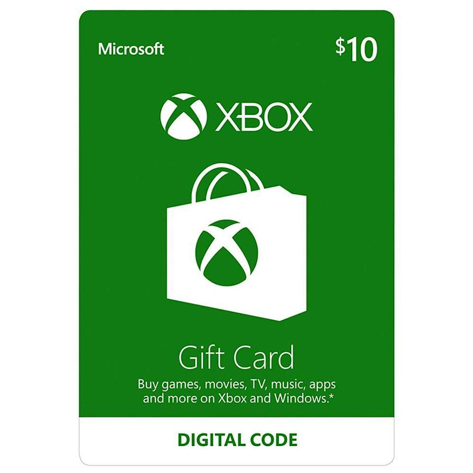 """<p><strong>Microsoft</strong></p><p>amazon.com</p><p><strong>$10.00</strong></p><p><a href=""""https://www.amazon.com/dp/B00F4CEHNK?tag=syn-yahoo-20&ascsubtag=%5Bartid%7C2089.g.370%5Bsrc%7Cyahoo-us"""" rel=""""nofollow noopener"""" target=""""_blank"""" data-ylk=""""slk:Shop Now"""" class=""""link rapid-noclick-resp"""">Shop Now</a></p><p>You can snag a last-minute gift card <a href=""""https://www.bestproducts.com/tech/gadgets/g2070/top-gaming-gifts-for-gamers/"""" rel=""""nofollow noopener"""" target=""""_blank"""" data-ylk=""""slk:for the gamer in your life"""" class=""""link rapid-noclick-resp"""">for the gamer in your life</a> right from the comfort of your phone. Sold through Amazon, this Xbox gift card comes in digital denominations from $10 to $100. </p><p>And yes, you can even purchase gift credits for <a href=""""https://www.amazon.com/PlayStation-Store-Gift-Card-Digital/dp/B00GAC1D2G/?tag=syn-yahoo-20&ascsubtag=%5Bartid%7C2089.g.370%5Bsrc%7Cyahoo-us"""" rel=""""nofollow noopener"""" target=""""_blank"""" data-ylk=""""slk:PlayStation"""" class=""""link rapid-noclick-resp"""">PlayStation</a> and <a href=""""https://www.amazon.com/Nintendo-eShop-Gift-Card-Digital/dp/B01LZNGPY3/?tag=syn-yahoo-20&ascsubtag=%5Bartid%7C2089.g.370%5Bsrc%7Cyahoo-us"""" rel=""""nofollow noopener"""" target=""""_blank"""" data-ylk=""""slk:Nintendo"""" class=""""link rapid-noclick-resp"""">Nintendo</a> as well.</p>"""