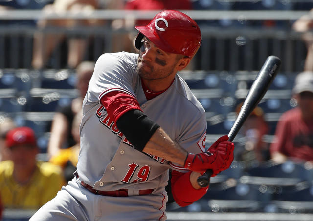 Cincinnati Reds' Joey Votto singles off Pittsburgh Pirates starting pitcher Trevor Williams in the top of the first inning during a baseball game in Pittsburgh, Monday, Sept. 3, 2018. (AP Photo/Gene J. Puskar)