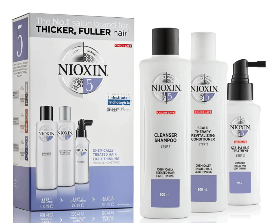 Thicker, healthier hair is as easy as 1, 2, 3 Nioxin System Kit 5. (Photo: SkinStore)
