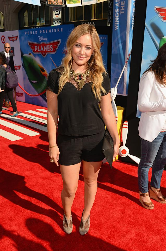 """HOLLYWOOD, CA - AUGUST 05:  Actress Hilary Duff attends the premiere of Disney's """"Planes"""" at the El Capitan Theatre on August 5, 2013 in Hollywood, California.  (Photo by Mark Davis/Getty Images)"""