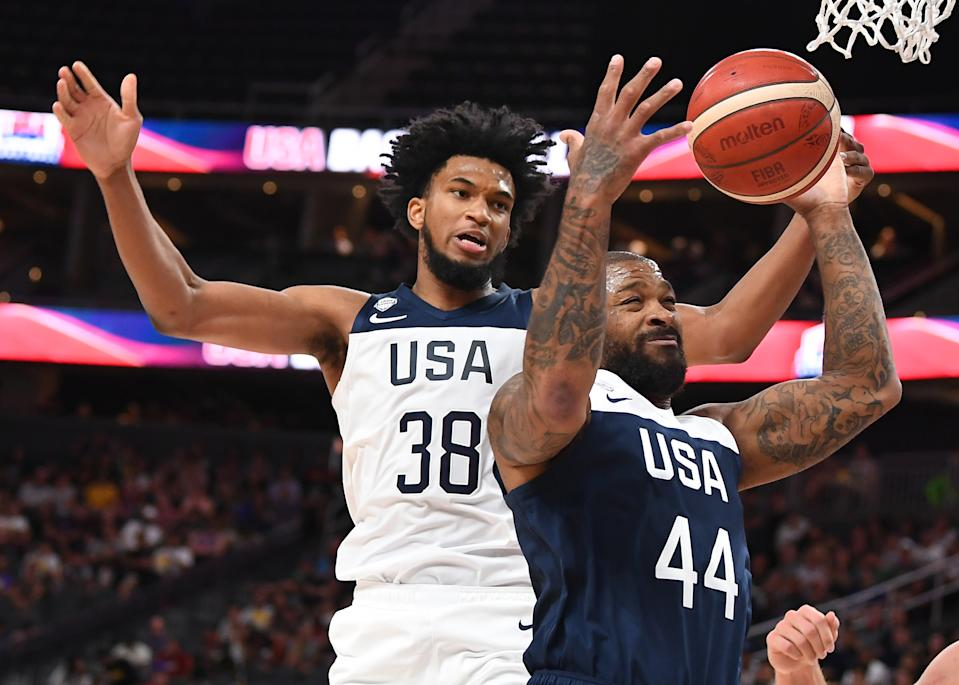 Aug 9, 2019; Las Vegas, NV, USA; USA Men's National Blue Team forward P.J. Tucker (44) grabs a rebound in front of USA Men's National White Team forward Marvin Bagley III (38) during the first half of the USA Basketball Men's National Team intra-squad game at T-Mobile Arena. Mandatory Credit: Stephen R. Sylvanie-USA TODAY Sports