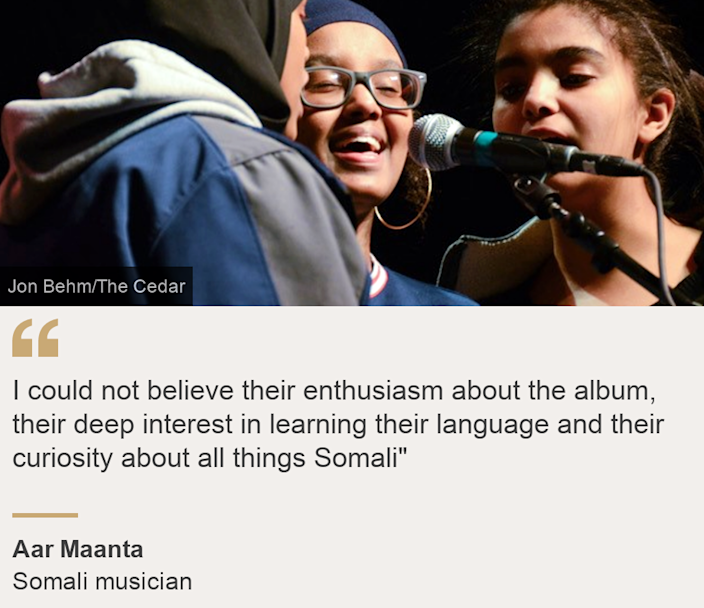 """""""I could not believe their enthusiasm about the album, their deep interest in learning their language and their curiosity about all things Somali"""""""", Source: Aar Maanta, Source description: Somali musician, Image: Somali children from the Cedar-Riverside neighbourhood singing during a recording for the album  Ubadkaa Mudnaanta Leh"""