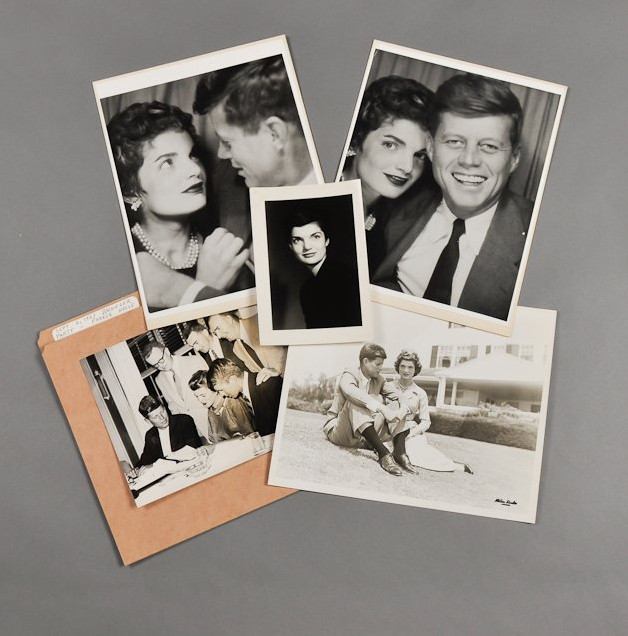 """This collage of photos from 1953 show John and Jacqueline pre-White House. Gotta love the grin on JFK in the upper right photo. <a href=""""http://www.mcinnisauctions.com/"""" rel=""""nofollow noopener"""" target=""""_blank"""" data-ylk=""""slk:(Photo courtesy of John McInnis Auctioneers)"""" class=""""link rapid-noclick-resp"""">(Photo courtesy of John McInnis Auctioneers)</a>"""