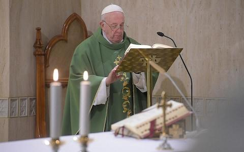 Pope Francis celebrates mass in the Vatican on Jan 14 2020 - Credit: EPA