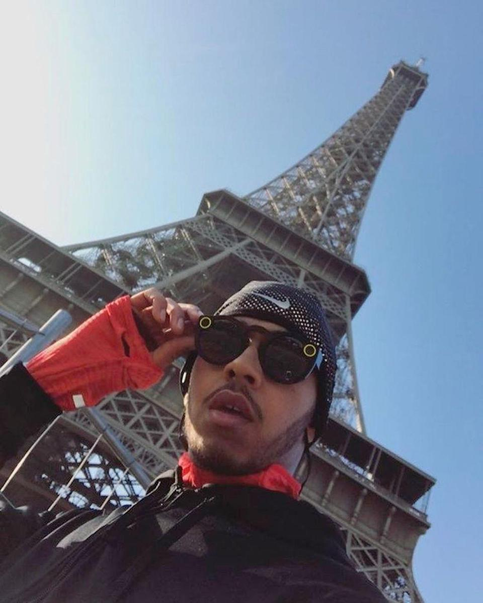 """<p>The race car driver isn't always speeding by things. In Paris in January, he did a """"12K run to start the day,"""" which brought him by the Eiffel Tower, where he stopped to selfie. (Photo: <a rel=""""nofollow noopener"""" href=""""https://www.instagram.com/p/BPfWyZeBS9Y/?taken-by=lewishamilton&hl=en"""" target=""""_blank"""" data-ylk=""""slk:Lewis Hamilton Instagram"""" class=""""link rapid-noclick-resp"""">Lewis Hamilton Instagram</a>)<br><br></p>"""