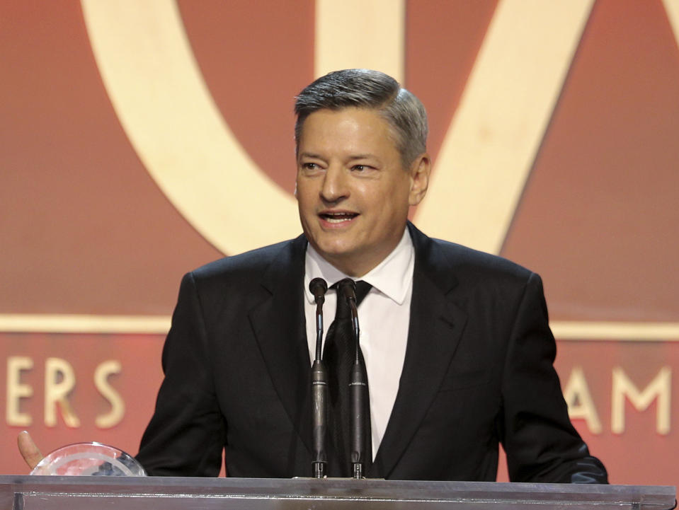 Ted Sarandos accepts the Milestone Award at the 31st Annual Producers Guild Awards at the Hollywood Palladium on Saturday, January 18, 2020, in Los Angeles. (Photo by John Salangsang/Invision for the Producers Guild of America/AP Images)