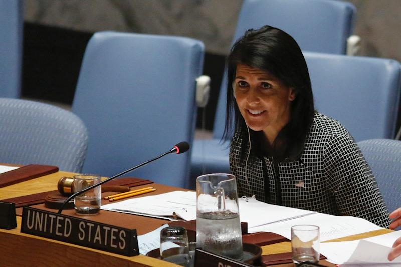 US Ambassador to the UN Nikki Haley speaks as she attends a UN Security Council meeting on the situation in the Middle East on April 12, 2017 at UN headquarters in New York (AFP Photo/KENA BETANCUR)