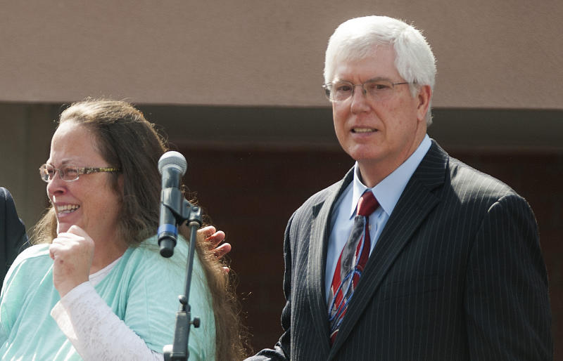 Mat Staver (right) is best known for representing Kentucky county clerk Kim Davis when she refused to issue marriage licenses to same-sex couples.