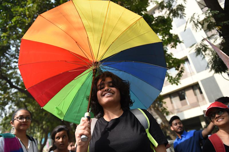 Indian members and supporters of the lesbian, gay, bisexual, transgender community take part in the 'Ahmedabad Queer Pride 2018' parade in Ahmedabad, India on Feb. 18, 2018.
