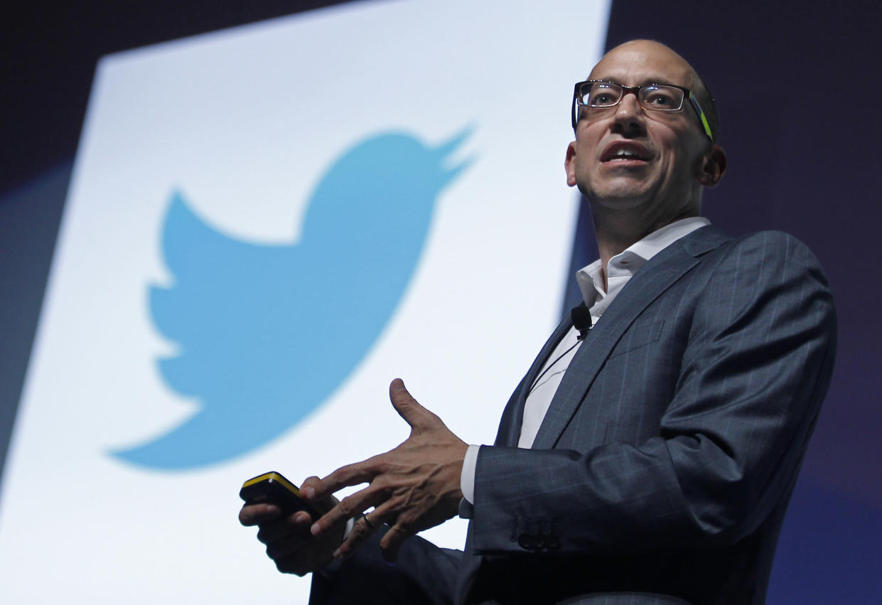 Twitter's then-CEO Dick Costolo gestures during a conference at the Cannes Lions in Cannes June 20, 2012. Cannes Lions is the International Festival of creativity. REUTERS/Eric Gaillard