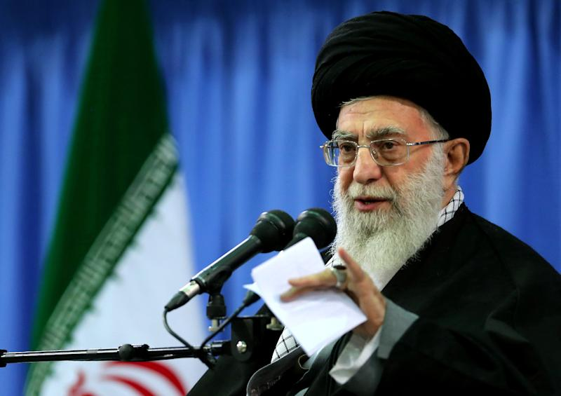 """Ayatollah Ali Khamenei, seen here on November 27, 2014, urges Western youths to learn about Islam from its """"primary sources"""""""