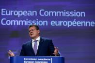 European Commission Vice President Maros Sefcovic speaks during a news conference at the European Commission in Brussels