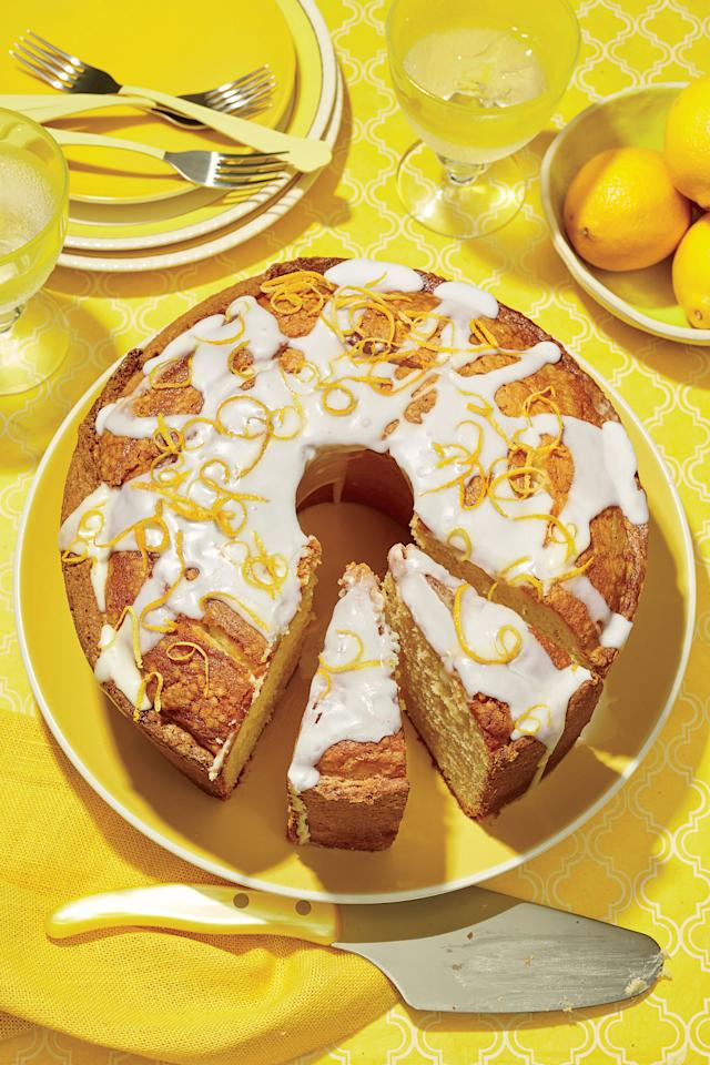 """<p><b>Recipe: </b><a rel=""""nofollow"""" href=""""http://www.southernliving.com/recipes/lemon-vanilla-pound-cake-with-lavender-glaze-recipe""""><b>Lemon-Vanilla Pound Cake with Lavender Glaze</b></a><b> </b></p> <p>Traditional pound cake is dressed up for the season with the addition of vanilla bean paste and lemon juice. Give it a flavorful finishing touch with Lavender Glaze.</p>"""