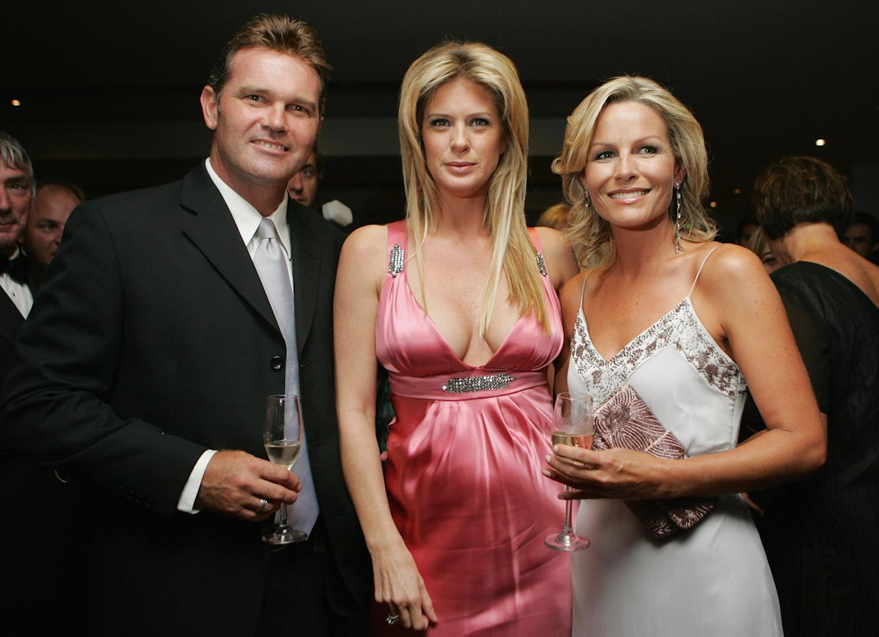 """AUCKLAND, NEW ZEALAND - MARCH 16: Former New Zealand cricketer Martin Crowe (L), Rachel Hunter and Loraine Downes attend the pre-dinner drinks reception at the Pearl Of The Pacific Charity Gala Dinner at the Hyatt Regency on March 16, 2007 in Auckland, New Zealand. The evening, attended by New Zealand supermodel Rachel Hunter, raised funds for the New Zealand Breast Cancer Foundation, and included a sneak preview of the new """"Lola by Rachel Hunter"""" swimwear range.  (Photo by Sandra Mu/Getty Images)"""