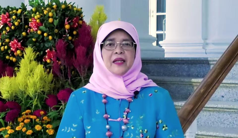 Singapore President Halimah Yacob during her Chinese New Year video message. (PHOTO: Screenshot/Facebook)
