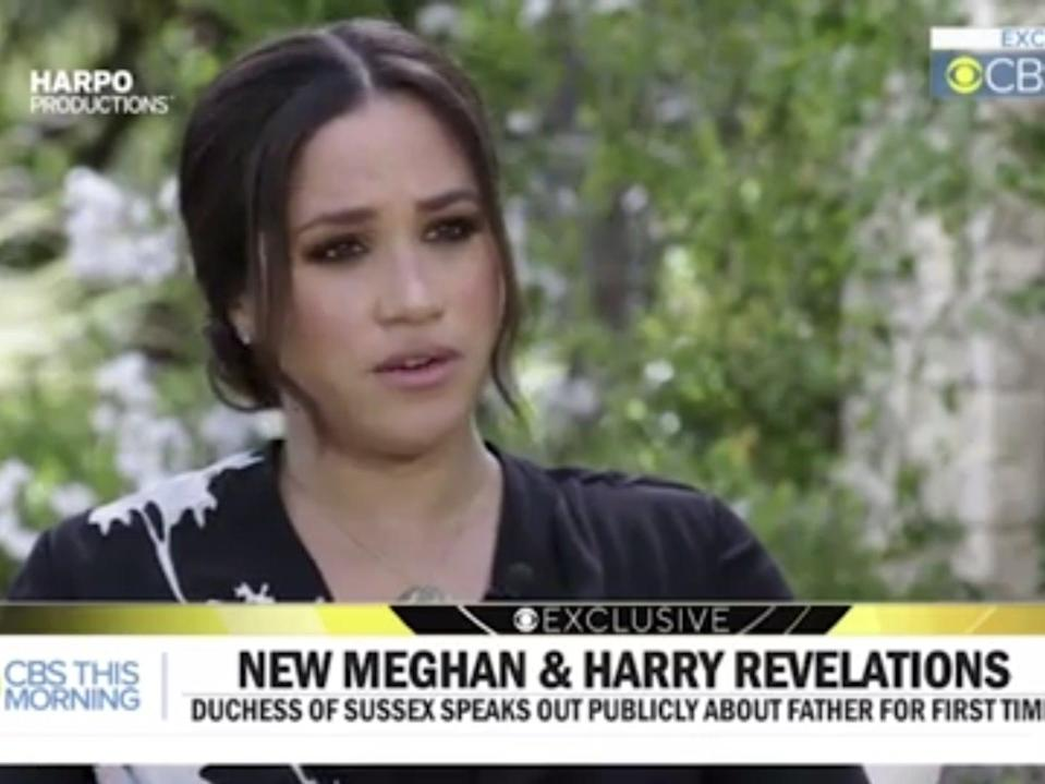 <p>Meghan Markle says she felt 'betrayed' by father talking to the press</p> (CBS)