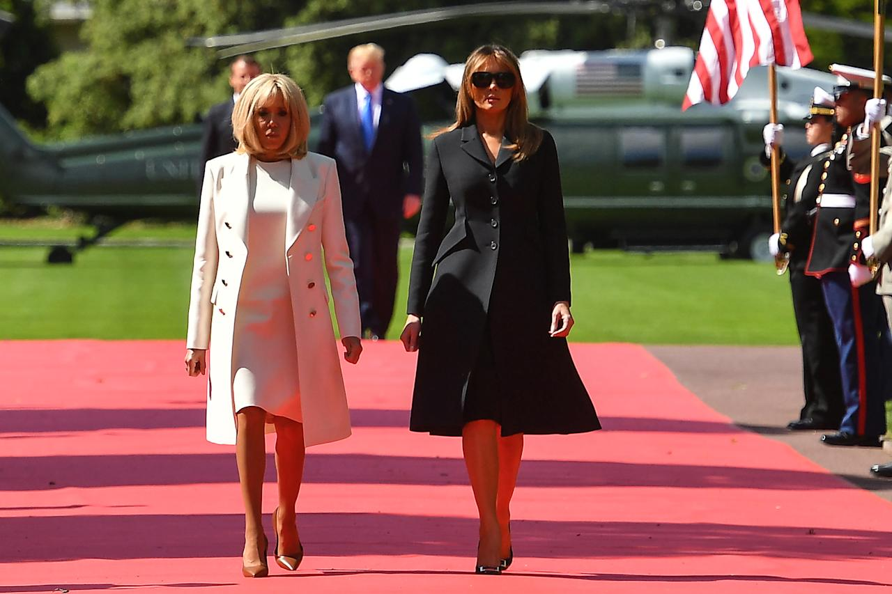 On June 6, the presidential couple flew to France for further D-Day commemorations. But the First Lady sparked criticism for not removing her sunglasses throughout the course of the day. [Photo: Getty]