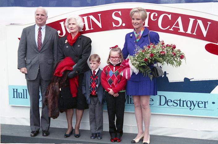 Members of the McCain family attend the christening of USS John S McCain (DDG-56), an Arleigh Burke-class destroyer, in Bath, Maine, on Sept. 26, 1992.