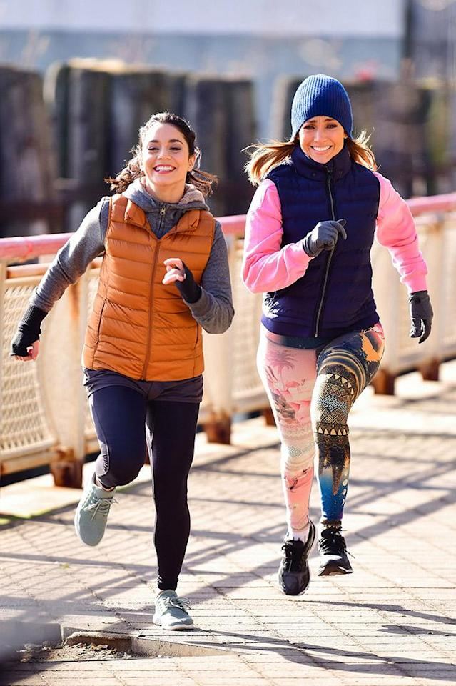 <p>Fun run! The stars of <em>Second Act</em> bundled up as they hit the pavement at New York's South Street Seaport on Monday. (Photo: James Devaney/GC Images) </p>