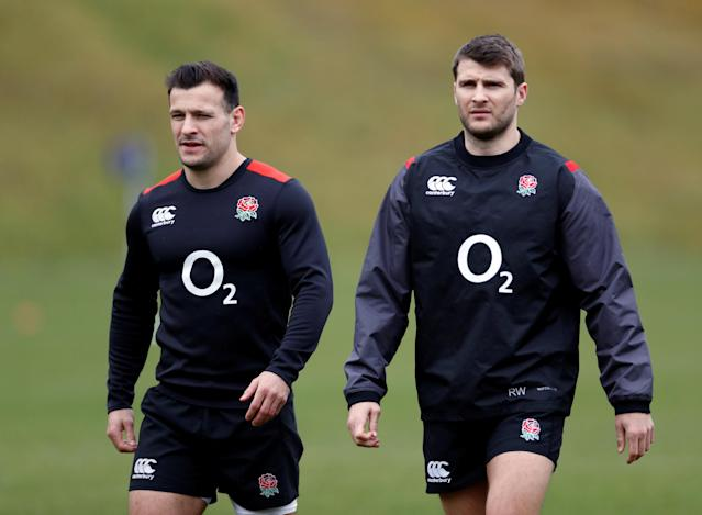 Rugby Union - England Training - Pennyhill Park, Bagshot, Britain - February 20, 2018 England's Danny Care and Richard Wigglesworth during training Action Images via Reuters/Paul Childs