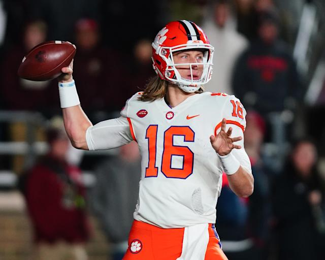 Quarterback Trevor Lawrence of the Clemson Tigers looks to pass in the first quarter of the game against the Boston College Eagles at Alumni Stadium on November 10, 2018 in Chestnut Hill, Massachusetts. (Getty Images)