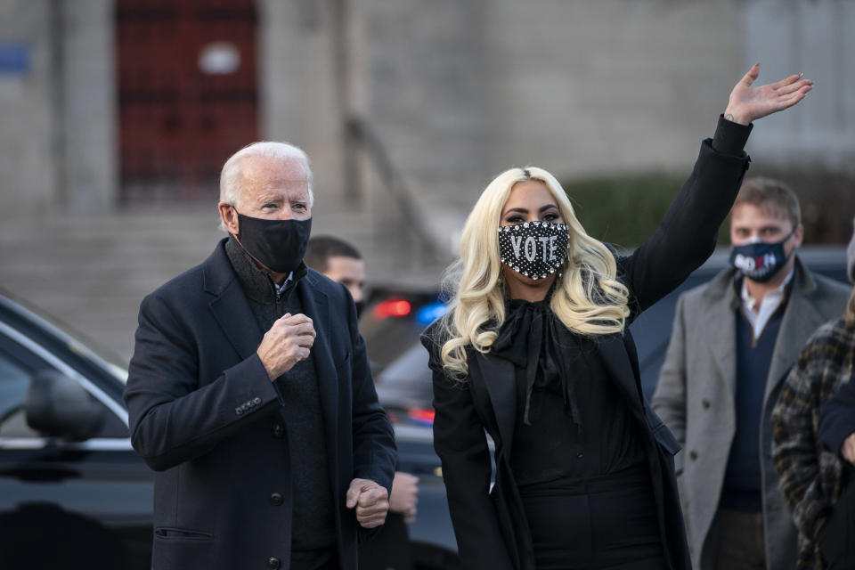 Joe Biden and Lady Gaga greet college students at Schenley Park on November 02, 2020 in Pittsburgh, Pennsylvania. (Photo by Drew Angerer/Getty Images)