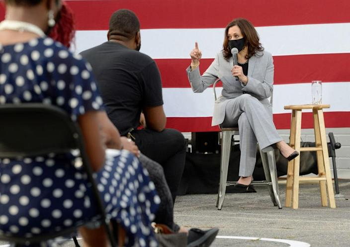 Democratic vice presidential nominee, Sen. Kamala Harris (D-CA) speaks at a Shop Talk with community members held outside Whites Barbershop on September 28, 2020 in Raleigh, North Carolina. Harris's campaign swing to the state comes a day before the first presidential debate between running mate Joe Biden and President Donald Trump. (Photo by Sara D. Davis/Getty Images)