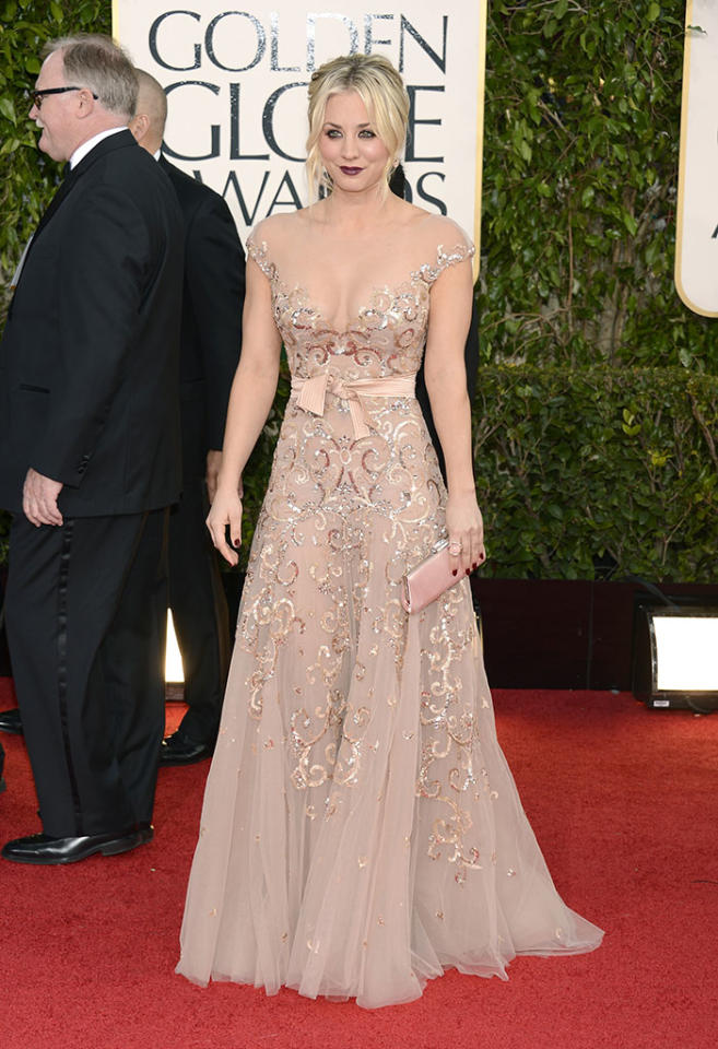 Kaley Cuoco arrives at the 70th Annual Golden Globe Awards at the Beverly Hilton in Beverly Hills, CA on January 13, 2013.