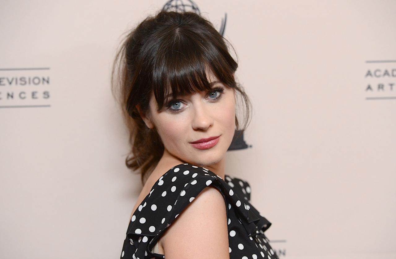 UNIVERSAL CITY, CA - AUGUST 20:  Actress Zooey Deschanel attends The Academy Of Television Arts & Sciences' performers peer group cocktail reception held at the Sheraton Hotel on August 20, 2012 in Universal City, California.  (Photo by Jason Merritt/Getty Images)