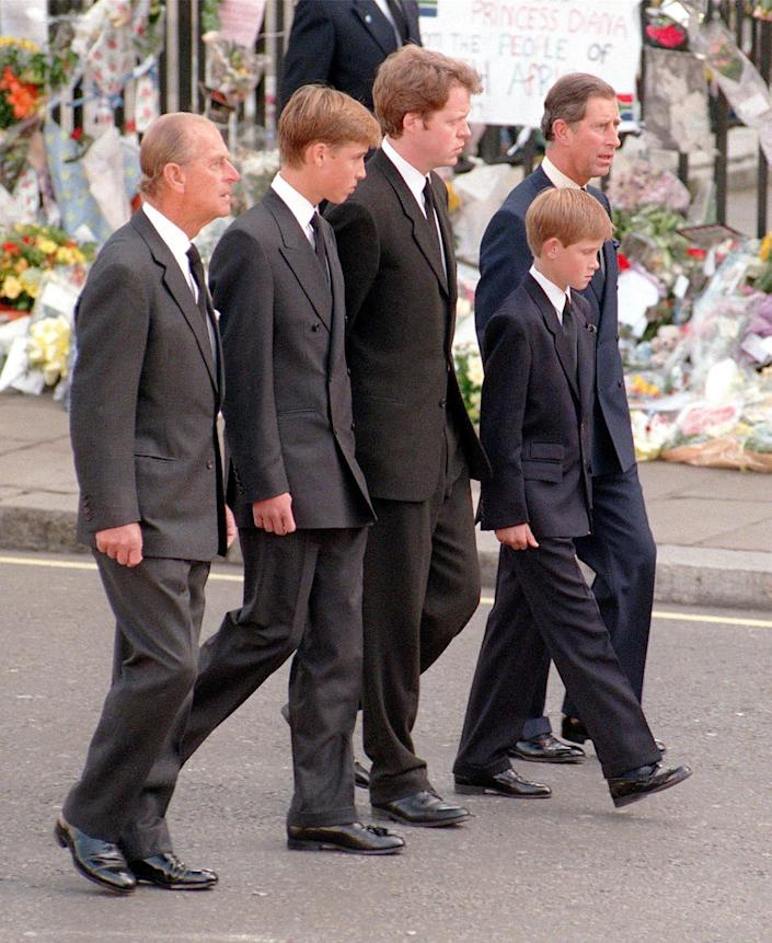 File photo dated 06/09/97 of (left to right) the Duke of Edinburgh, Prince William, Earl Spencer, Prince Harry and the Prince of Wales following the coffin of Diana, Princess of Wales, to Westminster Abbey for her funeral service. The Duke of Edinburgh has died, Buckingham Palace has announced. Issue date: Friday April 9, 2020.. See PA story DEATH Philip. Photo credit should read: Adam Butler/PA Wire