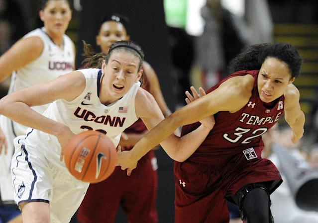 Connecticut's Breanna Stewart, left, and Temple's Natasha Thames (32) fight for a loose ball during the first half of an NCAA college basketball game in Bridgeport, Conn., Saturday, Jan. 11, 2014. (AP Photo/Fred Beckham)