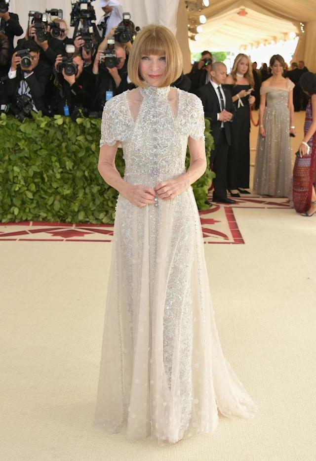 <p>Vogue's Editor-in-Chief chaired her 20th Met Gala, wearing Chanel. (Photo: Getty Images) </p>