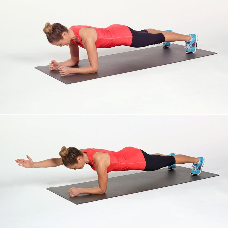 <ul> <li>Begin in an elbow plank with your feet slightly wider than your hips to create more stability.</li> <li>Reach your right arm straight out, with the thumb pointed toward the ceiling. Return back to elbow plank, and reach your left arm out. This completes one rep.</li> <li>Continue alternating for 40 seconds, then take 20 seconds of rest.</li> </ul> <p>Complete circuit two for a total of three rounds.</p>