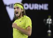 Greece's Stefanos Tsitsipas reacts during his semifinal against Russia's Daniil Medvedev at the Australian Open tennis championship in Melbourne, Australia, Friday, Feb. 19, 2021.(AP Photo/Andy Brownbill)
