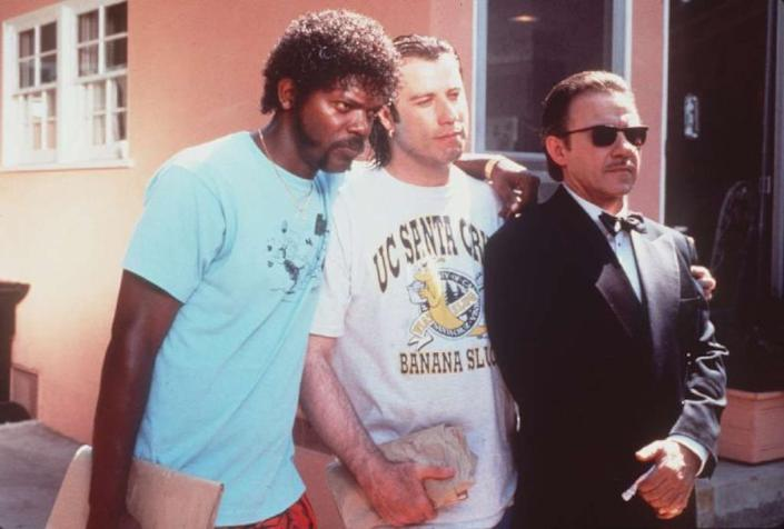 L–R: Samuel Jackson, John Travolta and Harvey Keitel in a scene from the movie Pulp Fiction. Miramax Films. Photo by Linda R. Chen