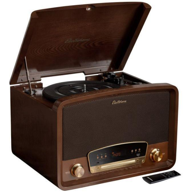 """<p><strong>Electrohome</strong></p><p>electrohome.com</p><p><strong>$199.99</strong></p><p><a href=""""https://www.electrohome.com/7-in-1-vinyl-record-player-rr75-walnut"""" rel=""""nofollow noopener"""" target=""""_blank"""" data-ylk=""""slk:Shop Now"""" class=""""link rapid-noclick-resp"""">Shop Now</a></p><p>Less of a traditional turntable and more of an all-in-one audio box, the Electrohome isn't just going to scratch the record player itch. <strong><strong>You got an AUX cord or a Bluetooth speaker? Great. Records? Obviously. CDs? Right there in the front. Same goes for a radio. </strong>This is literally a time machine, in some ways. </strong>Bonus: Its <strong>classic design harkens back to something you might've seen in your cool grandpa's home. <br></strong></p><p>The speaker quality is pretty legitimate for a built-in system. However, when it comes to connecting external speakers and movability, the bulkier design really doesn't lend itself to a seamless transition into your home. You'll have to make space for it, even more if you want those extra speakers. The positive and negative of this turntable is that everything you really should use is right there in front of you.</p>"""