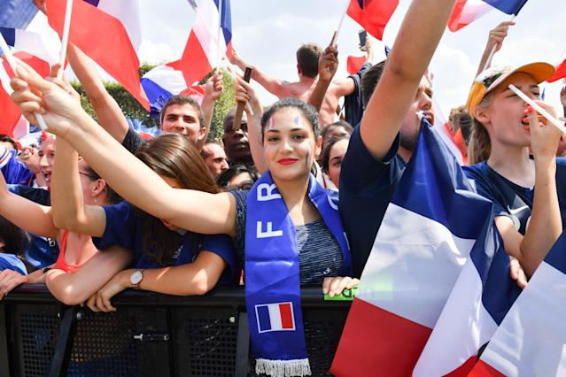 <p>Ambiance at the Fan Zone before the World Cup Final France against Croatie, at the Champs de Mars on July 15, 2018 in Paris, France. (Getty Images) </p>
