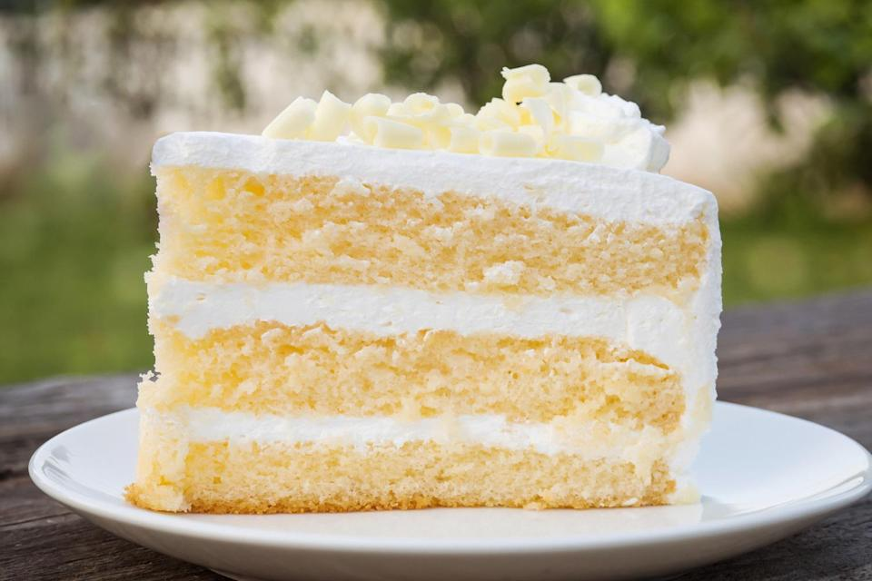 """<p>While there are plenty of <a href=""""https://www.thedailymeal.com/cook/13-things-you-didnt-know-you-could-make-boxed-cake-mix-slideshow?referrer=yahoo&category=beauty_food&include_utm=1&utm_medium=referral&utm_source=yahoo&utm_campaign=feed"""" rel=""""nofollow noopener"""" target=""""_blank"""" data-ylk=""""slk:creative things you can make with boxed cake mix"""" class=""""link rapid-noclick-resp"""">creative things you can make with boxed cake mix</a>, the best thing to make is, of course, cake. But few ingredients take that boxed mix to the next level like sour cream.</p> <p><a href=""""https://www.thedailymeal.com/recipes/sour-cream-white-cake-recipe-0?referrer=yahoo&category=beauty_food&include_utm=1&utm_medium=referral&utm_source=yahoo&utm_campaign=feed"""" rel=""""nofollow noopener"""" target=""""_blank"""" data-ylk=""""slk:For the Sour Cream White Cake recipe, click here."""" class=""""link rapid-noclick-resp"""">For the Sour Cream White Cake recipe, click here.</a></p>"""