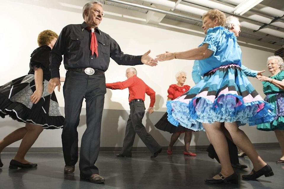 "<p><strong>State Folk Dance: Square Dance</strong><br></p><p>Those of us over a certain age are likely to know the square dance as a mandated gym class activity, and many states have deemed this the official dance. But in Alabama it is really celebrated and, per an order of the Governor in 2018, there is an entire week in August that's proclaimed <a href=""https://governor.alabama.gov/newsroom/2018/07/square-dance-week/"" rel=""nofollow noopener"" target=""_blank"" data-ylk=""slk:Square Dance Week"" class=""link rapid-noclick-resp"">Square Dance Week</a>. So grab your partner and swing her around. <br></p>"